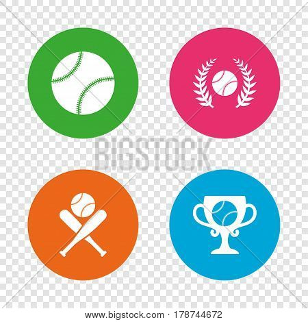 Baseball sport icons. Ball with glove and two crosswise bats signs. Winner award cup symbol. Round buttons on transparent background. Vector