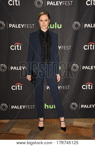 Evan Rachel Wood at the 34th Annual PaleyFest Los Angeles presentation of 'Westworld' held at the Dolby Theatre in Hollywood, USA on March 25, 2017.