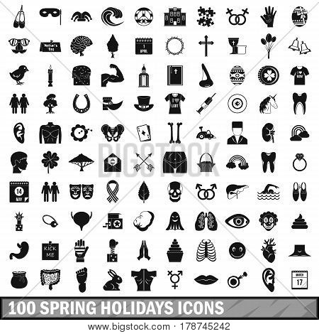 100 spring holidays icons set in simple style for any design vector illustration