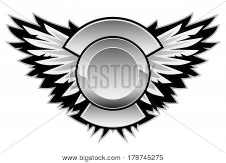 Logo wing graphic, with a center area for your logo and custom text.