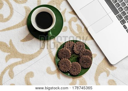 Business On Cover With Cookies, Coffee And Computer