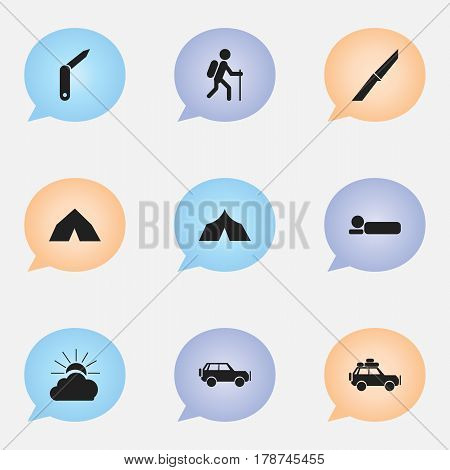 Set Of 9 Editable Trip Icons. Includes Symbols Such As Clasp-Knife, Refuge, Tepee And More. Can Be Used For Web, Mobile, UI And Infographic Design.