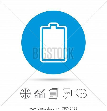 Battery fully charged sign icon. Electricity symbol. Copy files, chat speech bubble and chart web icons. Vector