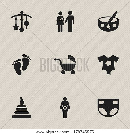 Set Of 9 Editable Child Icons. Includes Symbols Such As Adorn, Footmark, Lineage And More. Can Be Used For Web, Mobile, UI And Infographic Design.