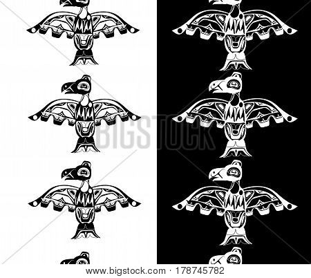 totem bird indigenous art stylization on with native ornament seamless border pattern