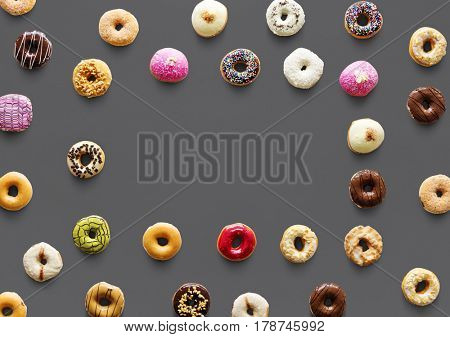 Varieties of donut flavor with copy space