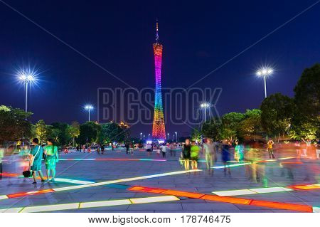GUANGZHOU CHINA - OCTOBER 4: Dusk view of the Canton tower as seen from the Flower Square in Guangzhou China on Octover 4 2016.