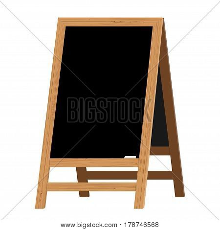 Menu Black Board. Vector illustration. Element on the theme of the restaurant business. For Chalk drawing. Realistic Wooden announcement board.