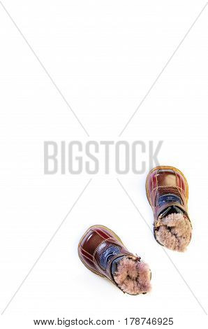Winter Children's Shoes Isolated On White Background