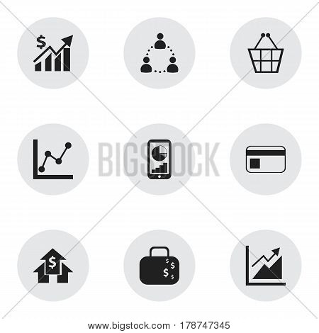 Set Of 9 Editable Logical Icons. Includes Symbols Such As Bank Payment, Progress, Graph Information And More. Can Be Used For Web, Mobile, UI And Infographic Design.
