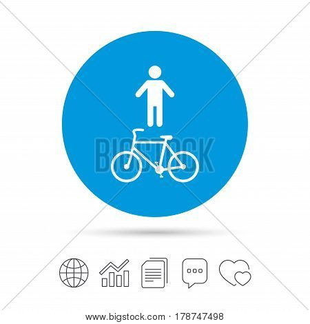 Bicycle and pedestrian trail sign icon. Cycle path symbol. Copy files, chat speech bubble and chart web icons. Vector