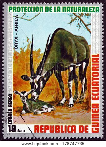 EQUATORIAL GUINEA - CIRCA 1974: a stamp printed in Equatorial Guinea shows Gemsbok Oryx Gazella Animal circa 1974