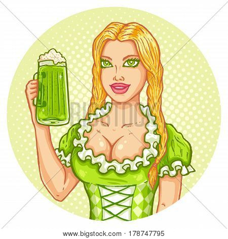 Retro illustration of a girl and beer for Patrick's day. Vector vintage poster with girl and beer for Patrick party.