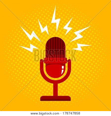 Vintage vector illustration of retro microphone and loud sound. Microphone on halftone background