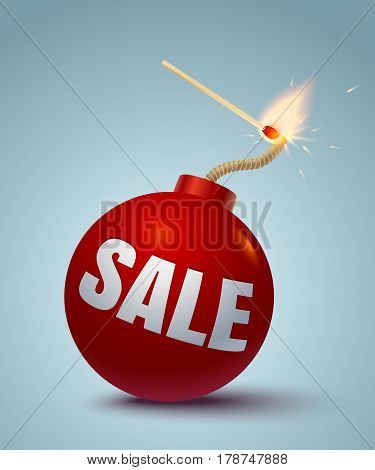 Vector illustration of a red bomb and match. Bomb for sale and shopping