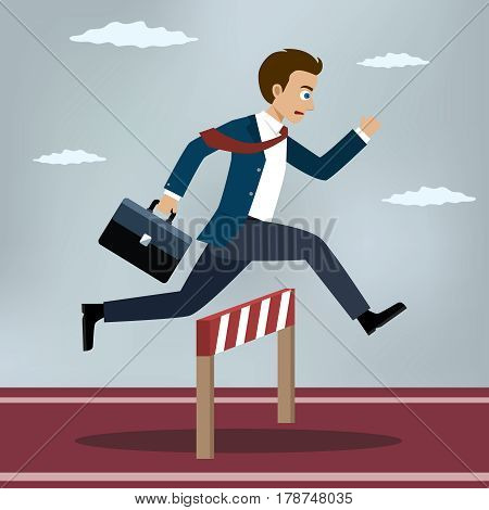 Businessman jumping over hurdle. Business concept of overcoming obstacles and achieving the goal. Vector illustration.