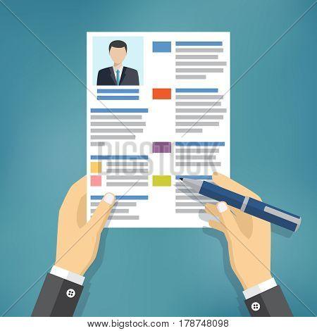 Hands of businessman fill a resume or application form. Flat vector illustration.