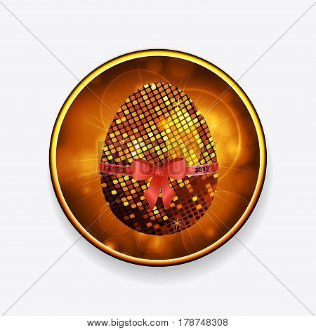 Easter Egg made of Golden Mosaic Tiles with Ribbon Bow and Text Over Glowing Border