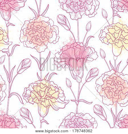 Vector seamless pattern with outline Carnation or Clove flowers, bud and leaves in pastel and pink on the white background. Floral background in contour style for spring or summer design.
