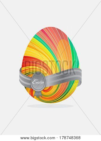 Striped Swirl Easter Egg with Banner Crest and Text Over White Background