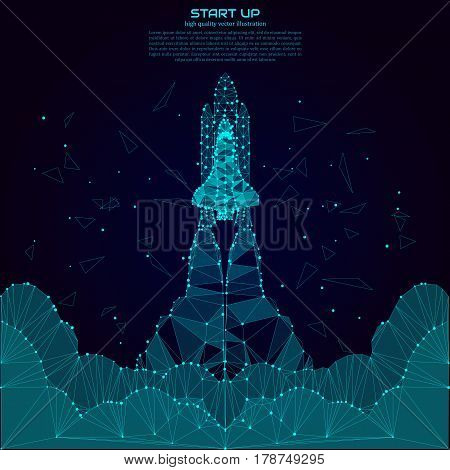 Polygonal Shuttle Launch. Point and line composition. Spaceship and space background. Projects template for business. Vector illustration