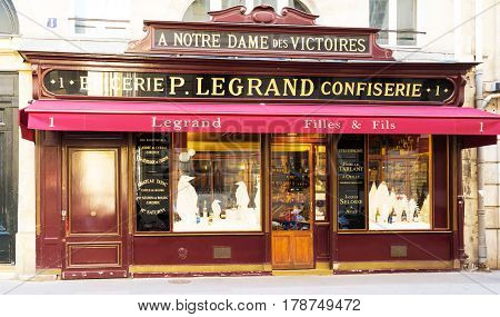 PARIS, FRANCE, March 25, , 2017: The traditional French vintage shop and wine cave LeGrand has been , for over a hundreed years , the cornerstone for wine lovers in Paris.