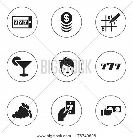 Set Of 9 Editable Casino Icons. Includes Symbols Such As Puzzle, Stacked Money, Martini And More. Can Be Used For Web, Mobile, UI And Infographic Design.