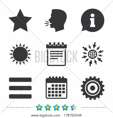 Star favorite and menu list icons. Notepad and cogwheel gear sign symbols. Information, go to web and calendar icons. Sun and loud speak symbol. Vector