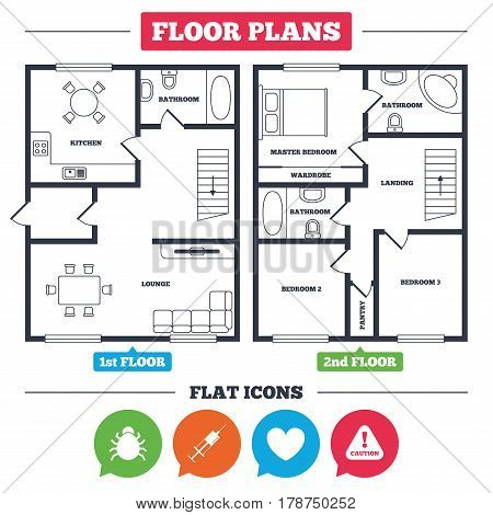 Architecture plan with furniture. House floor plan. Bug and vaccine syringe injection icons. Heart and caution with exclamation sign symbols. Kitchen, lounge and bathroom. Vector