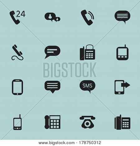 Set Of 16 Editable Phone Icons. Includes Symbols Such As Home Cellphone, 24 Hour Servicing, Radio Talkie And More. Can Be Used For Web, Mobile, UI And Infographic Design.