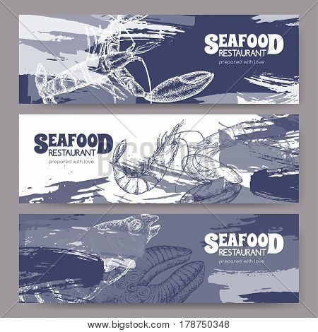 Three banners with fish, seafood sketches. Great for markets, grocery stores, organic shops, food label design.