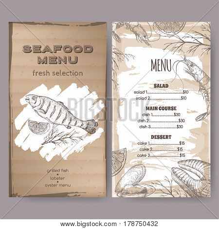 Vintage seafood restaurant menu template with hand drawn sketch of grilled fish, fish steak, shrimp and mytilus. Placed on cardboard background
