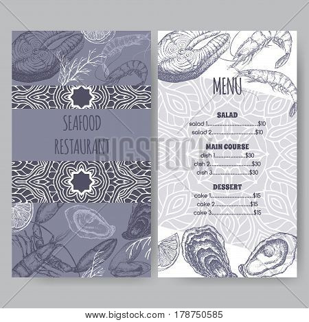 Vintage seafood restaurant menu template on blue with hand drawn sketch of lobster, fish steak, shrimp and mussels. Placed on cardboard background