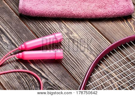Towel, skipping rope and racket. Active way of life.