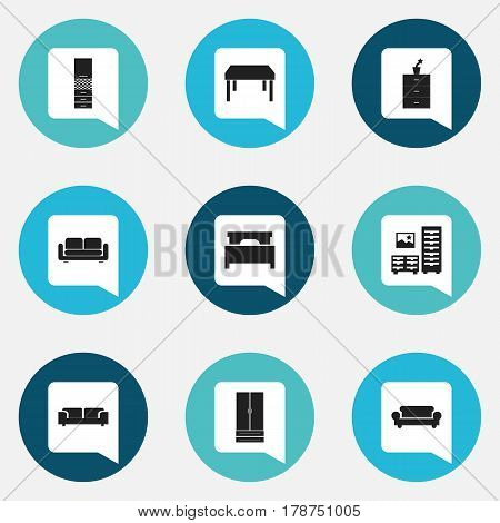 Set Of 9 Editable Home Icons. Includes Symbols Such As Cabinet, Sofa, Davenport And More. Can Be Used For Web, Mobile, UI And Infographic Design.