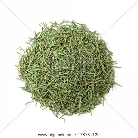 Top view of dried rosemary isolated on white