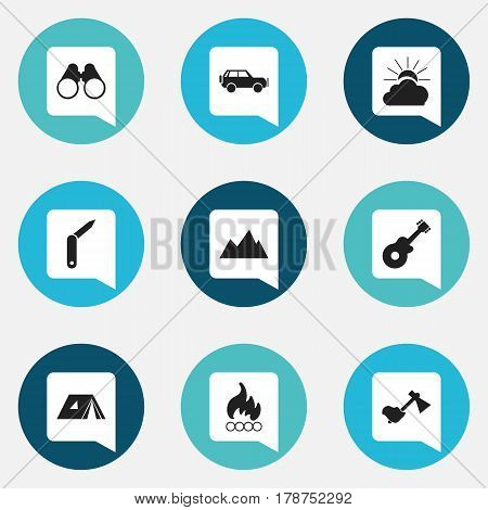 Set Of 9 Editable Trip Icons. Includes Symbols Such As Sport Vehicle, Blaze, Clasp-Knife And More. Can Be Used For Web, Mobile, UI And Infographic Design.