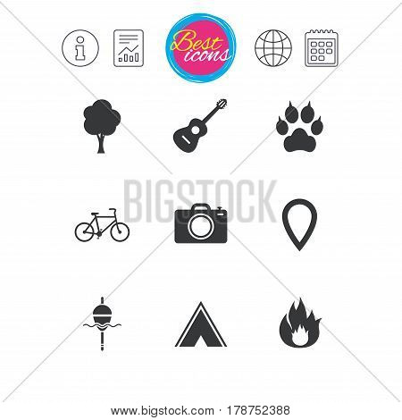 Information, report and calendar signs. Tourism, camping icons. Fishing, fire and bike signs. Guitar music, photo camera and paw with clutches. Classic simple flat web icons. Vector