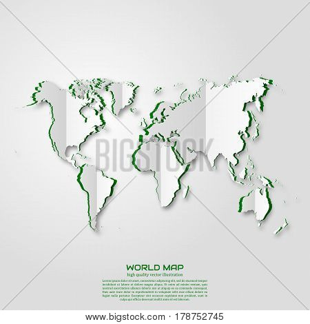 World map. Paper art style. Projects template for business. Vector art and illustration