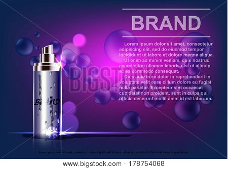 Cosmetic product, spray bottle, on a purple background.Vector illustration