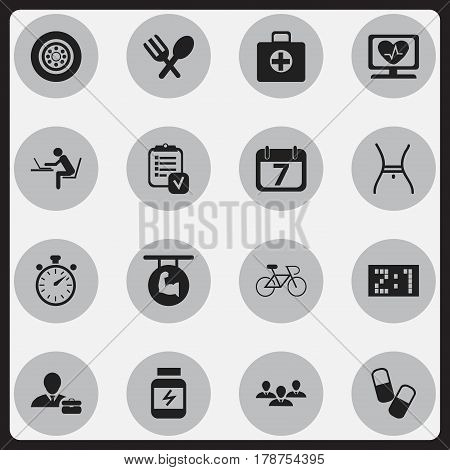 Set Of 16 Editable Complicated Icons. Includes Symbols Such As Chronometer, Employee, Belly And More. Can Be Used For Web, Mobile, UI And Infographic Design.