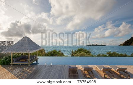 Beautiful Daybed in pool with Andaman Sea view- 3d rendering