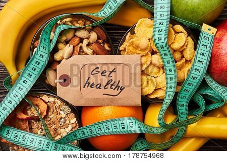 Fruits, nuts, cereals and card. Develop good habits.