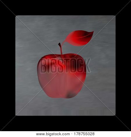 Vintage mystical picture apple in scarlet colors on black background. Burgundy silk drape flowing like blood.