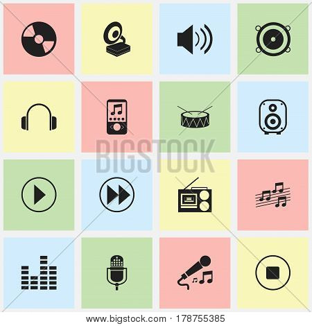 Set Of 16 Editable Melody Icons. Includes Symbols Such As Speaker, Rewind, Sound And More. Can Be Used For Web, Mobile, UI And Infographic Design.