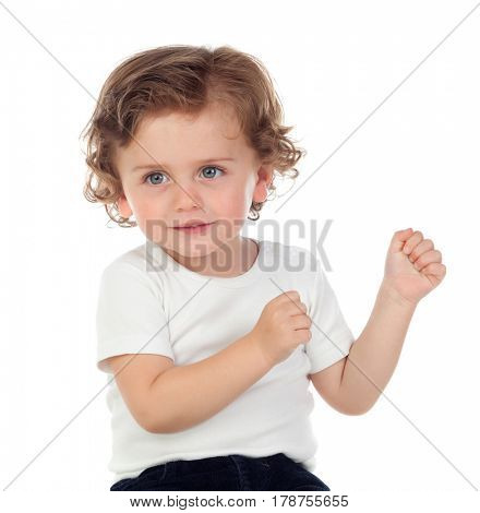 Beautiful baby dancing isolated on a white background