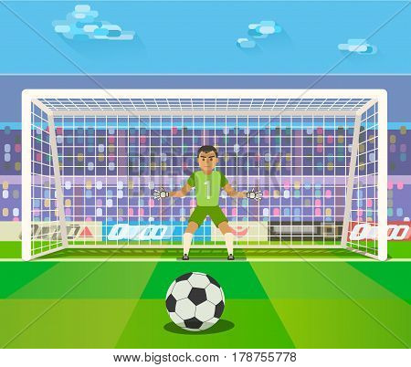 Soccer. Goalkeeper, illustration of a goalkeeper prepares to take a penalty. Rasterized Copy