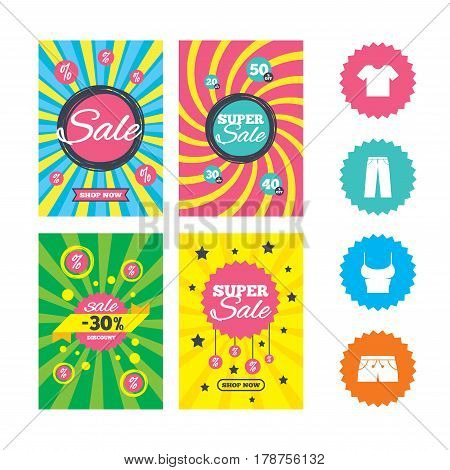 Web banners and sale posters. Clothes icons. T-shirt and pants with shorts signs. Swimming trunks symbol. Special offer and discount tags. Vector