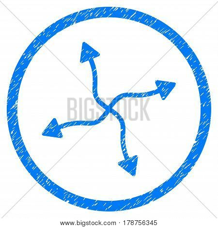 Curve Arrows grainy textured icon inside circle for overlay watermark stamps. Flat symbol with dust texture. Circled vector blue rubber seal stamp with grunge design.