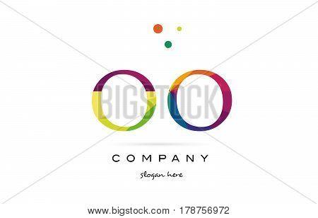 Oo O  Creative Rainbow Colors Alphabet Letter Logo Icon